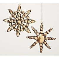 "5.5"" Amber Jeweled Diamond Gem Snowflake Decorative Christmas Ornament"