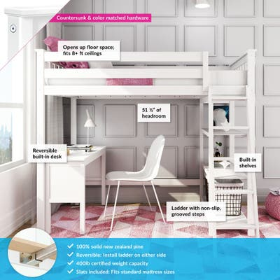 Max & Lily Twin-size Tall Loft Bed with Bookcase and Desk