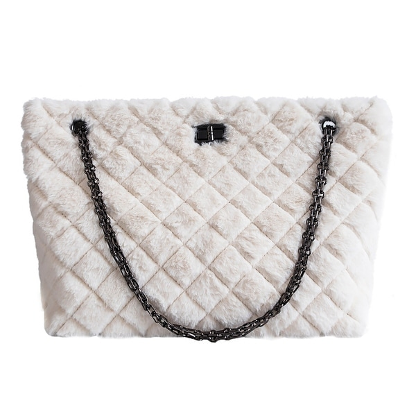 ecc53ae4310d Shop QZUnique Women's Rhombus Pattern Large Capacity Faux Fur ...