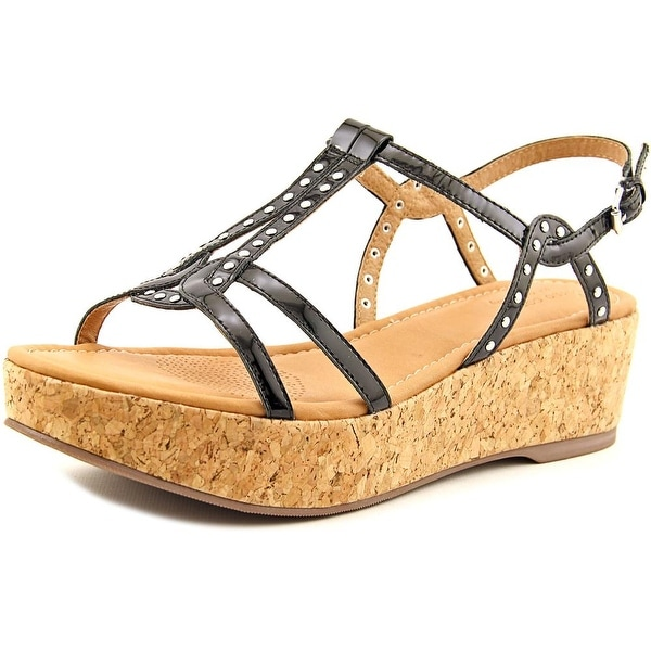 Corso Como Sandi Women Open Toe Synthetic Black Wedge Sandal