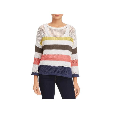 Three Dots Womens Sweater Striped Open Stitch