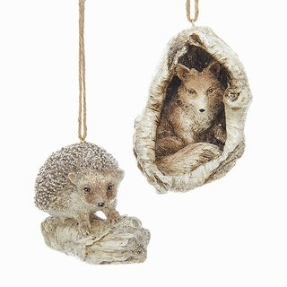 Club Pack of 12 Brown and Off-White Natural Fox and Hedgehog Hanging Ornaments 3.5