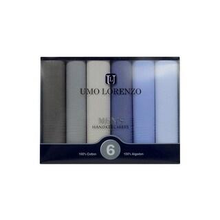Men's 6PC Colorful Boxed Fancy Cotton Handkerchiefs Hankies - regular