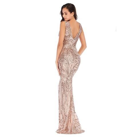 Women's Deep V-Neck Dress Symphony Sequin Long Mop Dress