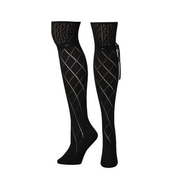 Blazin Roxx Socks Womens Over Knee Crochet Diamond Black