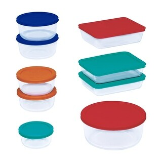 Pyrex 1110608 Glass Storage Set With Lids, 18 Piece