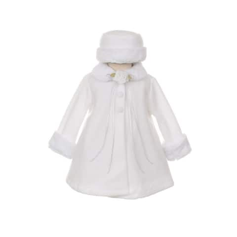 Kids Dream White Fleece Faux Fur Collar Stylish Coat Baby Girl 6-24M