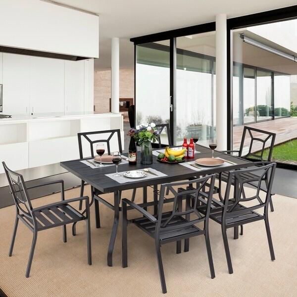 NUU GARDEN Outdoor Black Steel 7-piece Dining Set. Opens flyout.