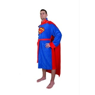 DC Comics Superman Men's Fleece Bathrobe with Cape - Blue