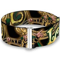 Loki Poses Black Gold Green Cinch Waist Belt   ONE SIZE