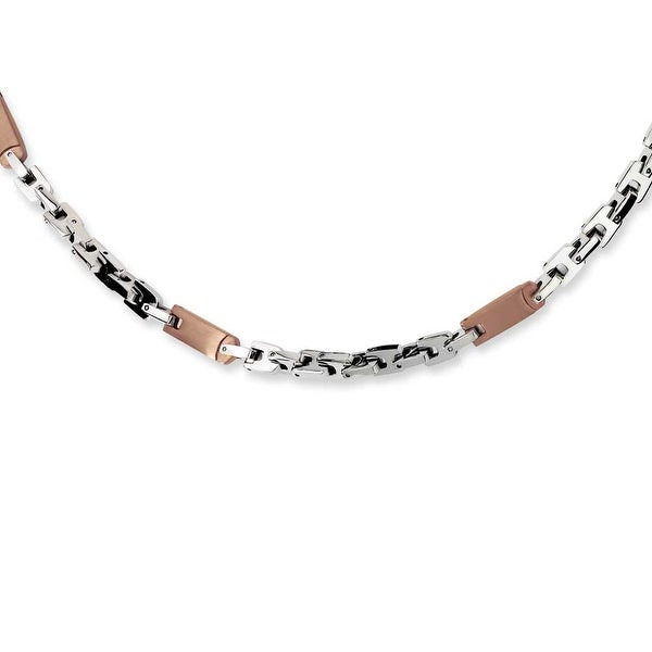 Chisel Stainless Steel Brown Color IP-plated Necklace (7 mm) - 24 in