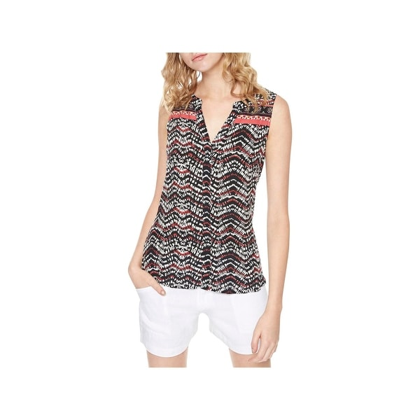 Sanctuary Womens Border Craft Tank Top Printed Split Neck