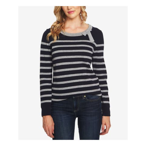 CECE Womens Gray Striped Bow Neck Long Sleeve Sweater Size M