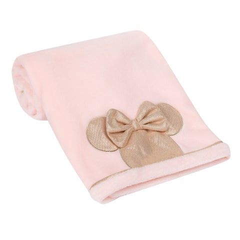Lambs & Ivy Disney Baby Pink/Rose Gold MINNIE MOUSE Appliqued Baby Blanket