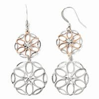 Sterling Silver Rose-tone 18k Flash Plated Dangle Earrings