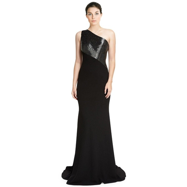 Shop Carmen Marc Valvo One Shoulder Beaded Crepe Evening Gown Dress ...