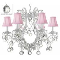 Swarovski Elements Crystal Trimmed White Wrought Iron Lighting Crystal With Pink Shades & Faceted Crystal Bal