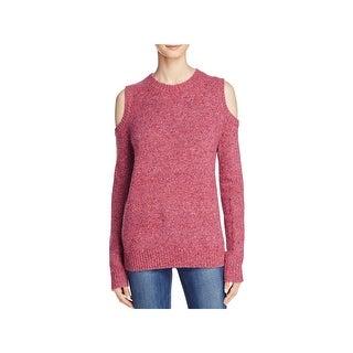 Rebecca Minkoff Womens Page Crewneck Sweater Herringbone Ribbed Trim