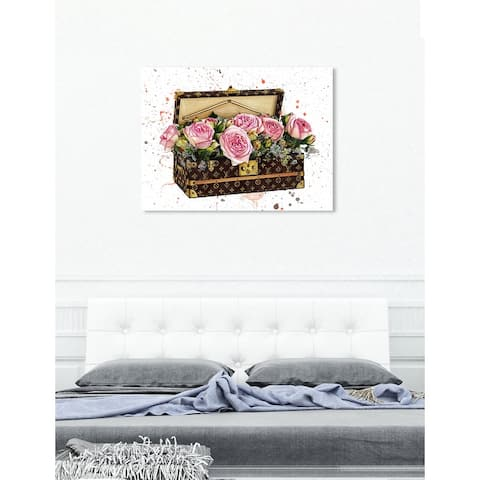 Oliver Gal 'Doll Memories - Trunk of Roses' Fashion and Glam Wall Art Canvas Print - Brown, Pink