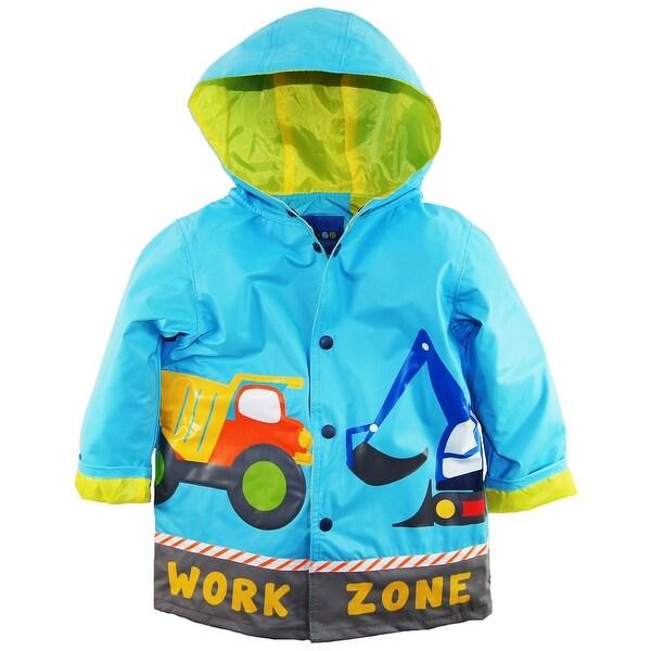 Wippette Boys Rainwear Waterproof Hooded Construction Trucks Raincoat Jacket