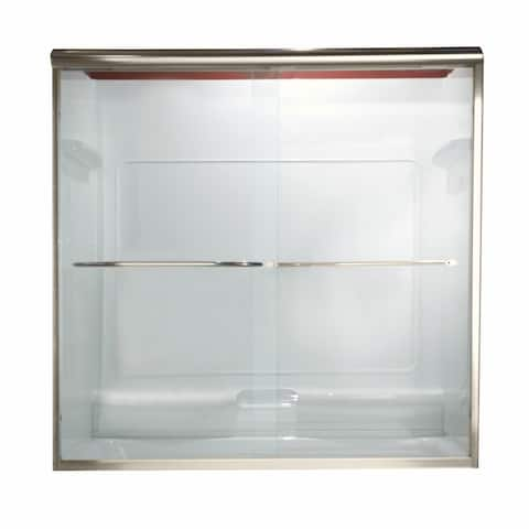 """American Standard AM00350.400 60"""" x 58"""" Euro Frameless By-Pass Double Sliding Shower Door with Clear Glass"""