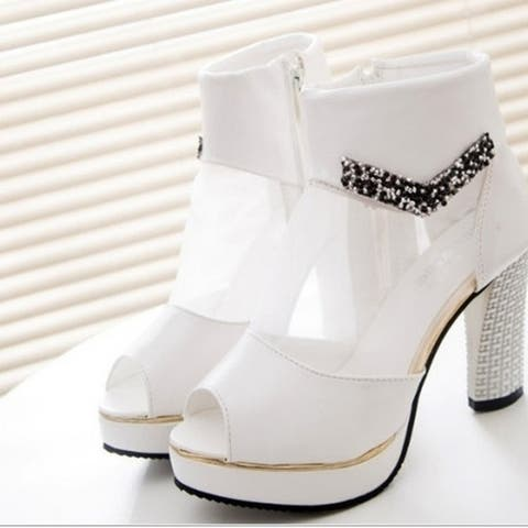 Spring New Breathable Mesh Fish Head High Heels Sandals