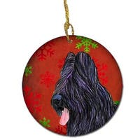 Briard Red Snowflakes Holiday Christmas Ceramic Ornament