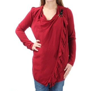 Womens Red Long Sleeve Wrap Sweater Size M