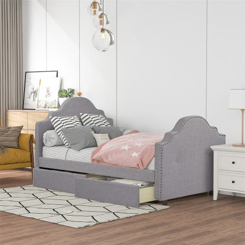 Merax Twin Upholstered Daybed with Storage Drawers