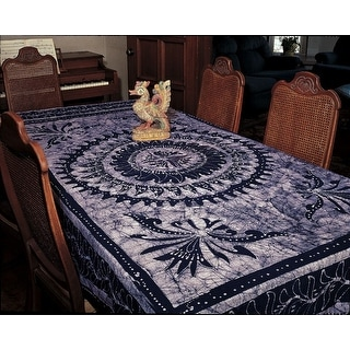 Handmade Cotton Batik Mandala Bedspread Coverlet Tapestry Throw Tablecloth Wall decor Twin Full Blue
