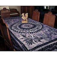 Handmade Cotton Batik Mandala Bedspread Coverlet Tapestry Throw Tablecloth Wall decor Twin Full Blue