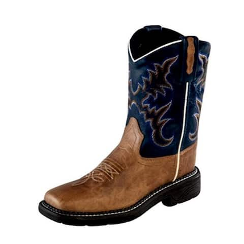 Old West Cowboy Boots Boys Reinforced Corded Square Tan Fry