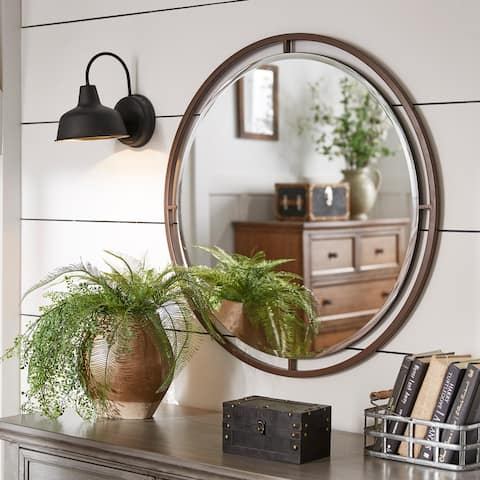 Carbon Loft Floating Round Wall Mirror