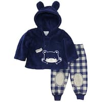 Duck Goose Baby Boys Teddy Bear Ear Sherpa Hooded Jacket Microfleece Pant Set