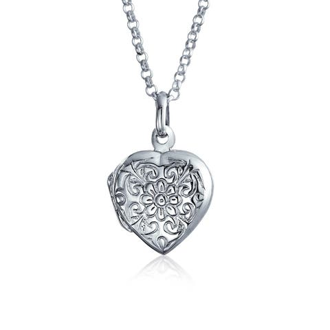Flower Etched Heart Shaped Locket Keepsake Pendant For Women Mothers 925 Sterling Silver With Chain 18 Inch