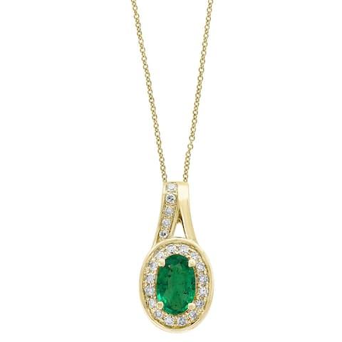 Effy Jewelry Emerald Oval Pendant with Diamonds in 14K Yellow Gold, 0.52 TWC