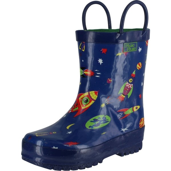 Pluie Pluie Boys Rocket Print Fashion Rainboots - navy rocket print