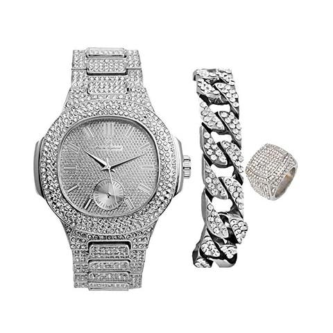 Bling-ed Out Oblong Case Mens Watch with Matching Cuban Bracelet and Ring Set 8475 CR Cuban