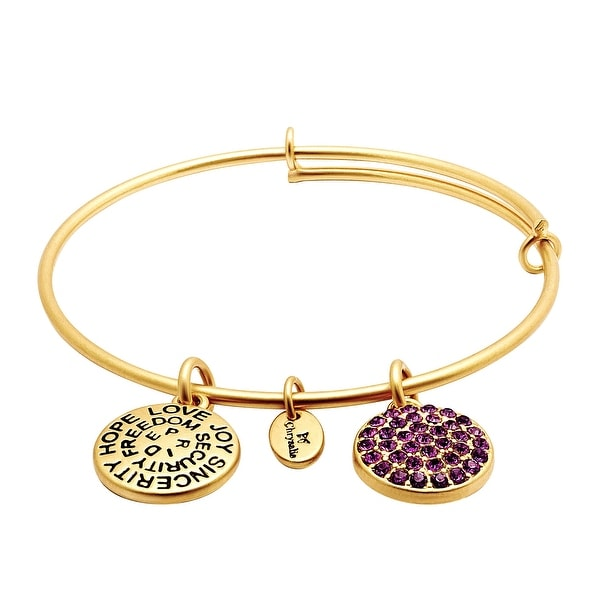 Chrysalis Expandable February Bangle Bracelet with Purple Swarovski elements Crystals in 14K Gold-Plated Bras
