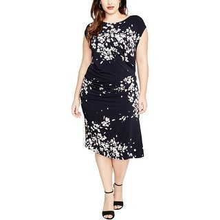Rachel Rachel Roy Womens Plus Wear to Work Dress Floral Print Cap Sleeves