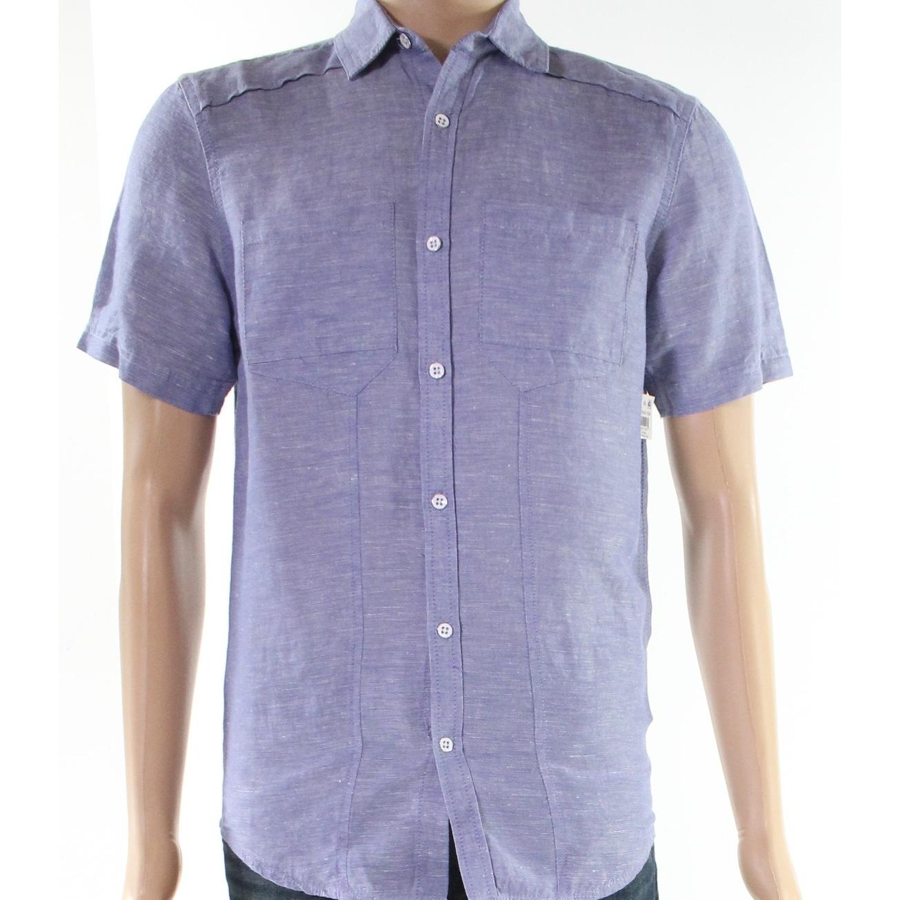 INC Hydrangea Mens Solid Pocket Button Down Shirt Blue 3XL