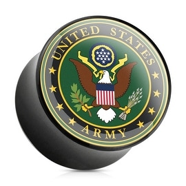 U.S. Army Logo Print Inlayed Black Acrylic Saddle Plug (Sold Individually)