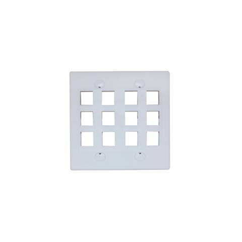 Offex Keystone Wall Plate, White, 12 Hole, Dual Gang
