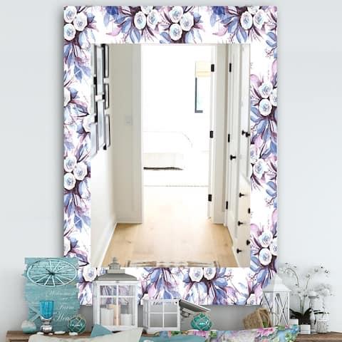 Designart 'Purple Bloom 1' Traditional Mirror - Frameless Wall Mirror