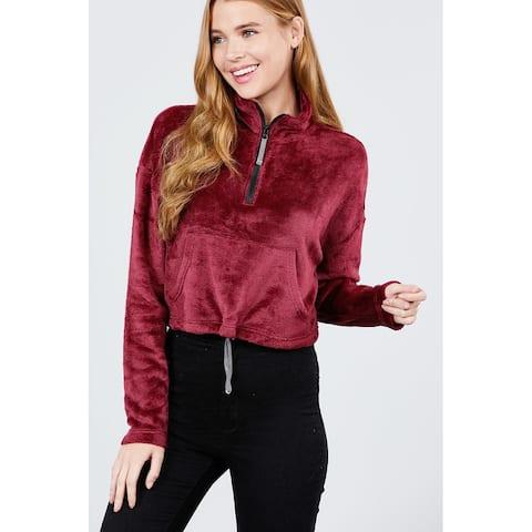 Cali Chic Women's Sweatshirt Hoodies Celebrity Dolman Super Soft Fleece Mock Neck Zipper Pullover Burgundy