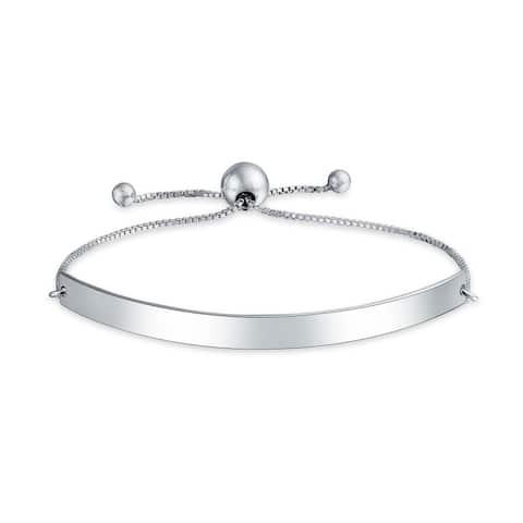 Identification ID Bracelet Engravable Name Plate Bar Bolo Bracelet For Women 925 Sterling Silver Adjustable
