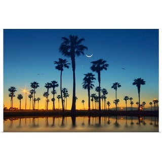 """""""Row of palm trees and half moon over palm tree."""" Poster Print"""