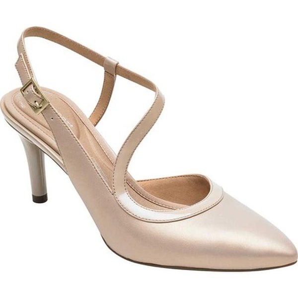 b0dc8a1b1169 Rockport Women  x27 s Total Motion 75mm Pointy Toe Ankle Strap Neutral  Beige Leather