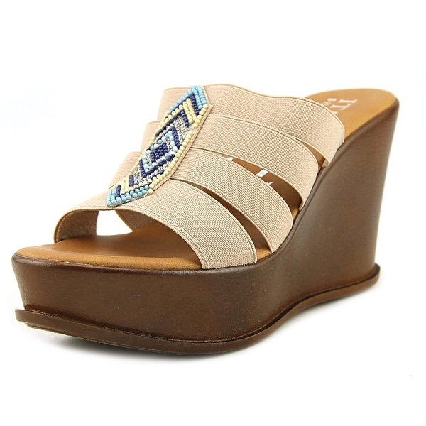 Italian Shoe Makers 5685S7 Women Open Toe Canvas Nude Wedge Sandal