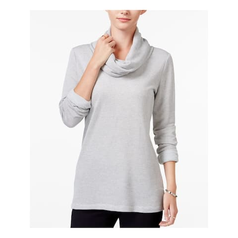 MAISON JULES Womens Gray Striped Long Sleeve Cowl Neck Top Size M